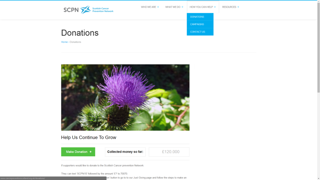 A screenshot of the SCPN donations page at cancerpreventionscotland.org.uk