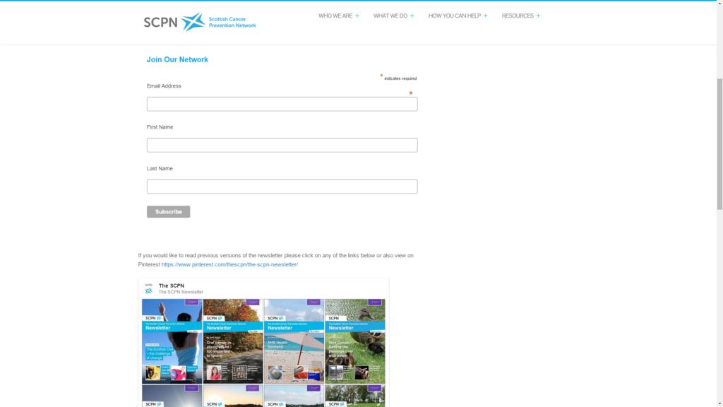 A screenshot of the SCPN newsletter site (www.cancerpreventionscotland.org.uk/newsletter)