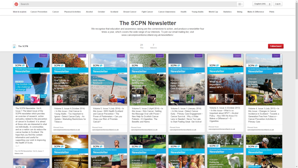 A screenshot of the SCPN newsletter on Pinterest